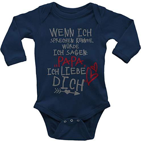 Mikalino Babybody mit Spruch für Jungen Mädchen Unisex Langarm Wenn ich sprechen könnte würde ich Sagen: Papa ich Liebe Dich | handbedruckt in Deutschland |, Farbe:Navy, Grösse:80