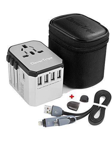 CleverTrips™ Universal Reiseadapter Reisestecker Alles In Einem Weltweit Internationales Ladegerät Netzstecker Travel Adapter mit 5.6A Smart Power USB und 3.0A USB Typ-C für USA EU UK AUS (Silver)