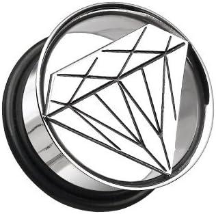 Covet Jewelry Diamond Cut Hollow Steel Single Flared Ear Gauge Plug
