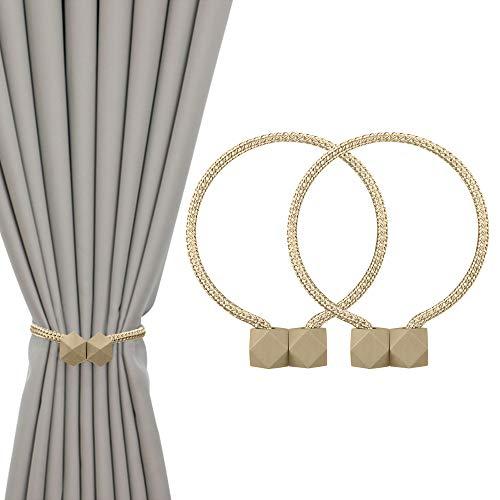 VELOVYO Strong Magnetic Curtain Tiebacks Curtain Holdbacks Versatile Drape Tiebacks Rope Curtain Tiebacks No Drilling Required 2 Packs Beige