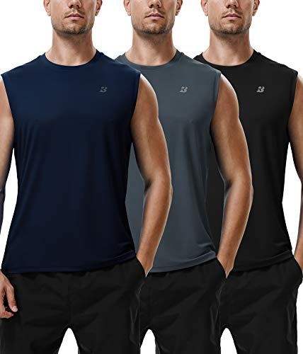 Roadbox Workout Sleeveless Shirts for Men Athletic Gym Basketball Quick Dry Muscle Tank Tops (Black+Grey+Dark Navy, L)
