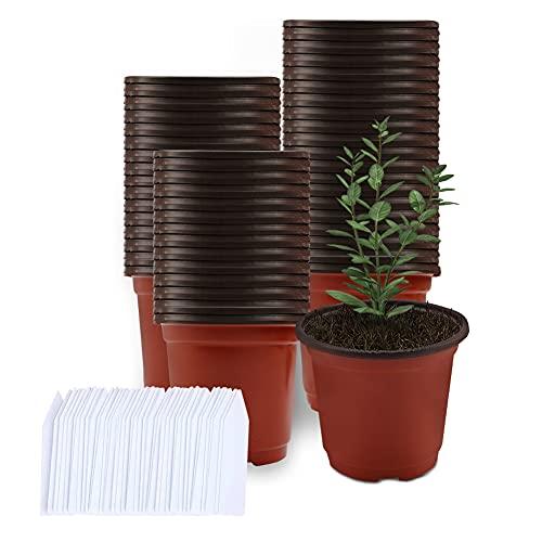Vasetti per Piantine, Mengxin 50 Pezzi Vasi in Plastica per Piante e 100 Pezzi Etichette Piante Piccoli Vasi Semina Plastica per Piante da Interno e da Esterno (6 pollici)