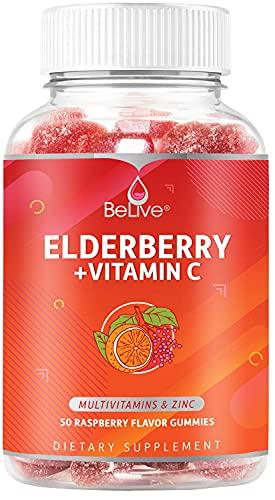 Elderberry Gummies with Vitamin C 160MG - Double Strength Elderberries Extract 200MG - Zinc, Multivitamins, B-Complex - For Immune Support Vitamins, Raspberry Flavor (50 Ct)