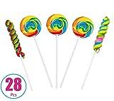 28 Lollipops - 16 Twisty Pop + 12 Rainbow Swirl Pop Bundle - Birthday Party Favors, Events