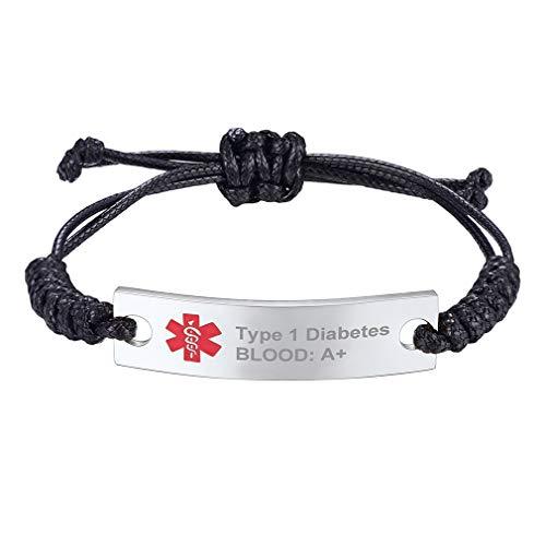 Supcare Cruz Roja Alerta Médica Pulsera ID con Placa de Identidad Acero Inoxidable Plateado y Tira Ajustable de Hilos Cuerdas Trenzados Enceradas Negro para Casos de Emergencia Personalización Gratis