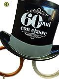 Occhiali Party 60 Anni - Occhiali Cilindro Sessant'anni - Gadget scherzoso per Il sessantesimo Compleanno