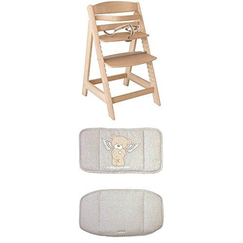 roba Treppenhochstuhl Sit Up III, mitwachsender Hochstuhl, Holz, naturfarben + roba Sitzverkleinerer, Hochstuhleinlage Heartbreaker