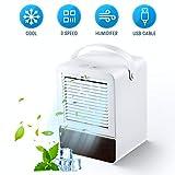 GHONLZIN Enfriador de Aire Silencioso Mini Air Cooler Humidificador con 3 Velocidades para Oficina en Casa (Blanco)