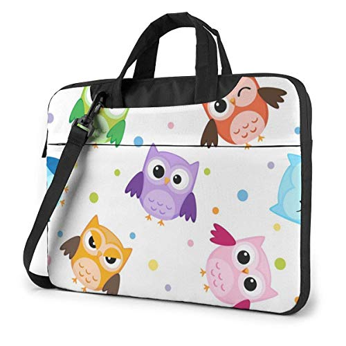 Laptop Shoulder Bag Carrying Laptop Case 14 Inch, Owl Cute Pink Computer Sleeve Cover with Handle, Business Briefcase Protective Bag for Ultrabook, MacBook, Asus, Samsung, Sony, Notebook