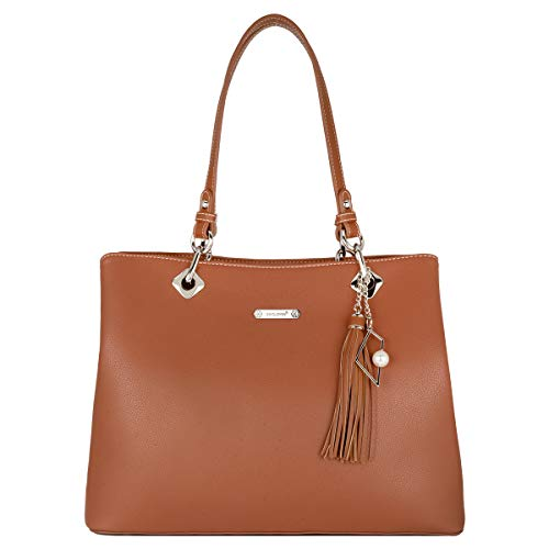 David Jones - Dames Handtas Hengseltas - Large Shopper Tote Bag Zacht PU Leer - Schoudertas Draagtas Lange Hengsels - Veel Zakken Vakken - Grote Capaciteit - Mode Alledaags - Cognac Bruin
