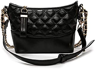 Leather New Women's Shoulder Wallet Small Fragrance Rhombic Chain Wallet Wandering Wallet Wild Shoulder Messenger Wallet Waterproof (Color : Black, Size : M)