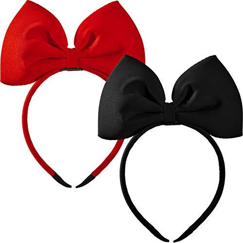 2 Stücke Schleife Haarreife Rot und Schwarz Bogen Knoten Stirnband Große Schleife Haarreife für Frauen und Mädchen, Haarschmuck für Party und Cosplay