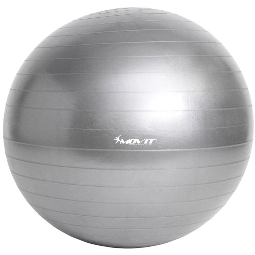 Movit Gymnastikball »Dynamic Ball« inkl. Fußpumpe, 85 cm, Silber, Maximalbelastbarkeit bis 500kg, berstsicher, Fitness-Ball, Sitzball, Yogaball, Pilates-Ball, Balance