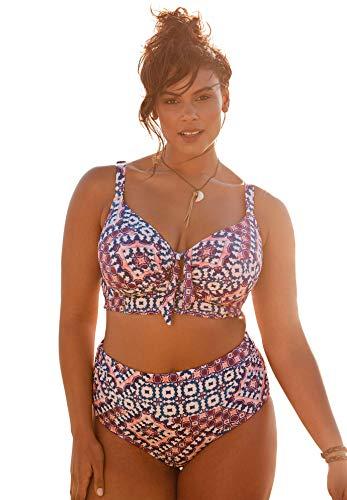 Swimsuits For All Women's Plus Size Longline Bikini Top - 46 DD, Tile
