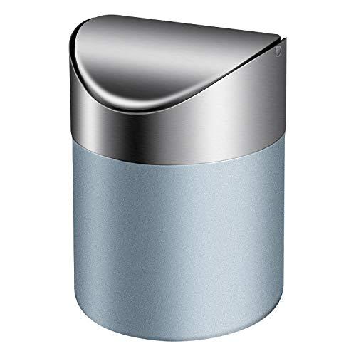 TWFRIC Mini Basura Inoxidable Basura con Tapa, Mini cubo de basura Pequeña Escritorio Cubos de basura para Escritorio Oficina Baño Cocina Residuos Contenedores 1L