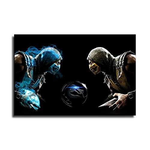 Game Mortal Kombat Skorpion und Sub-Zero 4K HD Bild Poster Wandkunst Dekor Druck gemalte Leinwand Wandbilder Dekoration 30 x 45 cm