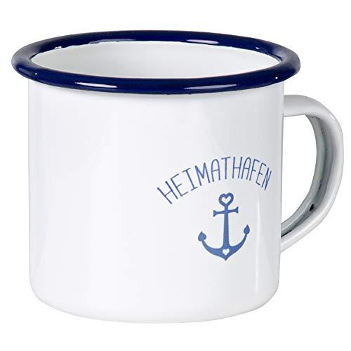 Heimathafen - Hochwertiger Emaille Becher mit maritimen Anker Design. Nicht nur für Segler und Boot Liebhaber - leicht und robust - von MUGSY.de