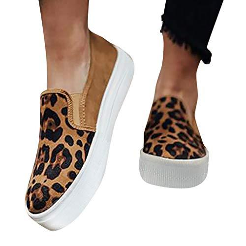 Damen Slip-On Sneaker mit Leopardenmuster Plateau Loafer Weich Flache Mokassins Bequeme Halbschuhe Leicht Atmungsaktive Freizeit Schuhe Celucke (Braun, 40 EU)