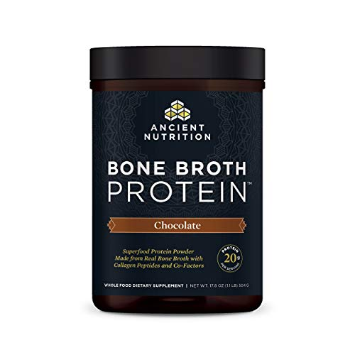 Protein Powder Made from Real Bone Broth by Ancient Nutrition, Chocolate, 20g Protein Per Serving, 20 Serving Tub, Gluten Free Hydrolyzed Collagen Peptides Supplement, Great in Protein Shakes