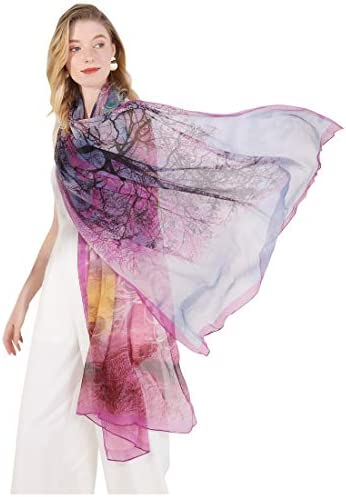 DANA XU Pure Silk Large Size Pashmina Shawls and Wraps Scarfs for Women Purple201 product image