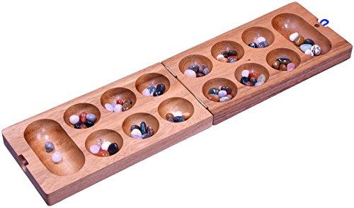 LOGOPLAY Kalaha Gr. L - Hus - Bao - Bohnenspiel - Edelsteinspiel - Steinchenspiel aus Samena-Holz