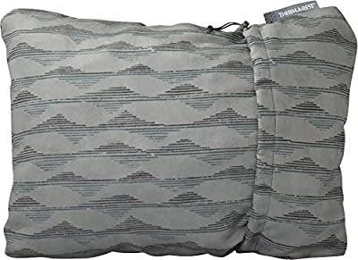 Therm-a-Rest Compressible Travel Pillow for Camping, Backpacking, Airplanes and Road Trips, Gray Mountains Print, Medium - 14 x 18 Inches