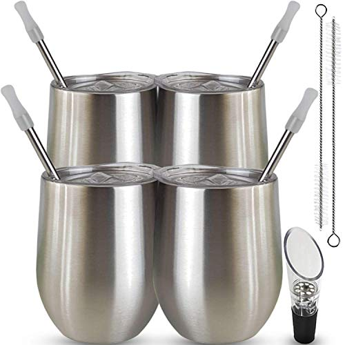 Stainless Steel Wine Tumbler Stemless Glasses with Lid and Straws 4 Pack 12oz by Ckompworld Insulated Tumbler with Wine Pourer, Silicone Tips and Brushes - Keeping Beverages Hot and Cold Longer