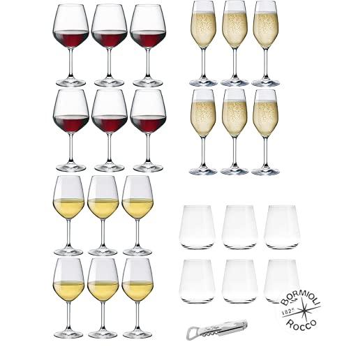 Set Calici 6 Persone, 25 Pz, Servizio Calici di Vetro MOD. Divino, Calici Vino Bianco, Calici Vino Rosso, Flute da Champagne, Servizio Bicchieri Acqua Vetro Trasparente MOD. Uno Inalto, con Cavatappi