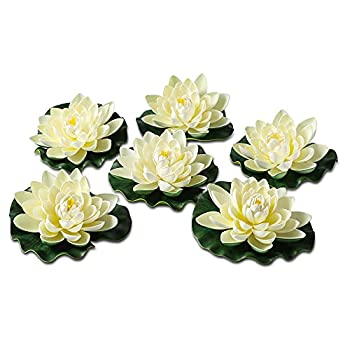 NAVAdeal 6PCS Artificial Floating Foam Lotus Flowers with Water Lily Pad Ornaments Ivory White Perfect for Patio Koi Pond Pool Aquarium Home Garden Wedding Party Holiday Decoration  with NO Lights