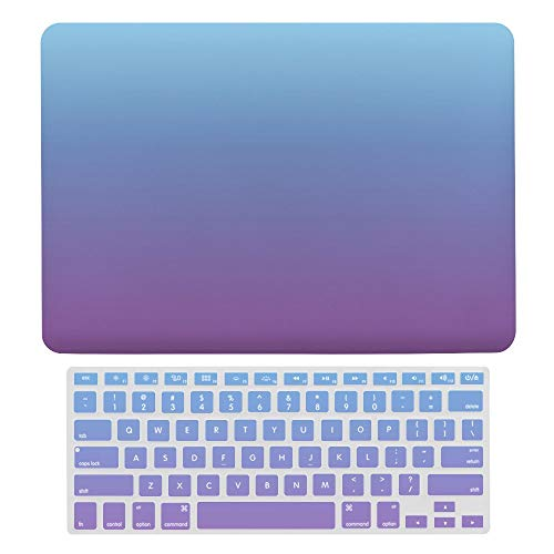 MacBook Pro 13 inch Case 2020 2019 2018 2017 Release A2159 A1989 A1706, Plastic Hard Protective Laptop Case Shell With Keyboard Cover, Blue And Purple Ombre