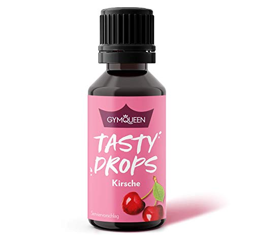GymQueen Tasty Drops 30ml | Kalorienfreie, Zuckerfreie und Fettfreie Flavour Drops | Aroma Tropfen zum Süßen von Lebensmitteln | Geschmackstropfen ohne Künstliche Farbstoffe I Kirsche