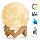 Lámpara de Luna, AMZJUPWM 3D Impresión en16 Colores con Soporte, Control Táctil y Luz de Noche Portátil USB Recargable para Decoración del Hogar y Regalos para Niños, Amigos, Amantes (Luna)