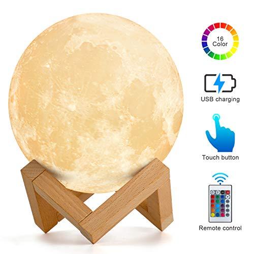 Mond Lampe, AMZJUPWM 3D-Druck 16-Farben-Leuchten mit Ständer, Touch-Steuerung und Wiederaufladbarem USB-Nachtlicht für die Inneneinrichtung und Geschenke für Kinder, Freunde, Liebhaber (Mond)