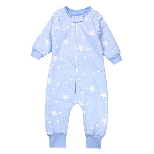 TupTam Saco de Dormir con Mangas y Piernas Bebés 2.5 TOG, Blanco Estrellas / Azul, 80-86