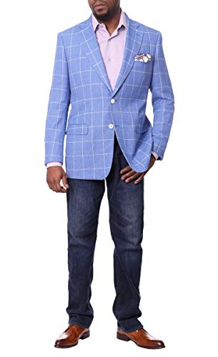 Men's Classic Plaid Sport Coats Casual One Button Single Breasted Notched Lapel Checked Suit Jacket (Dark Grey, X-Large)