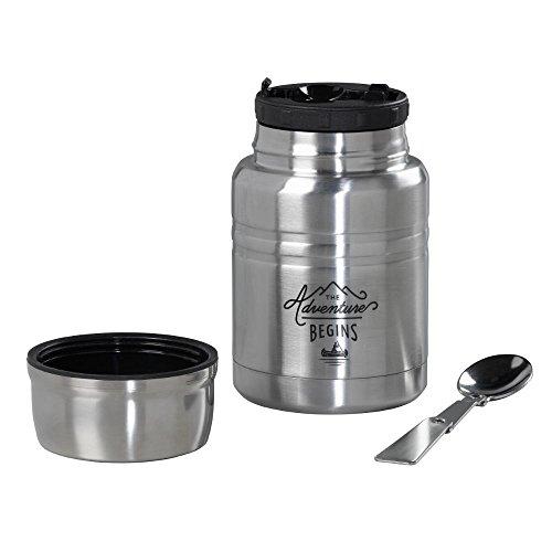 Outils de Gentleman de Nourriture Isotherme avec cuillère, Noir, 500 ML