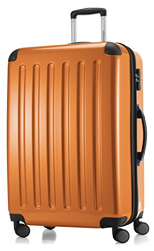 HAUPTSTADTKOFFER - Alex - 4 Doppel-Rollen Großer Hartschalen-Koffer Trolley Rollkoffer Reisekoffer, 75 cm, 119 L, Orange