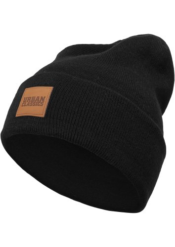 Urban Classics TB626 Unisex Strickmütze Leatherpatch Long Beanie Black, One size (Herstellergröße: one size)