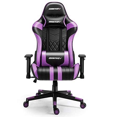 AMINITURE Gaming Chair Racing Style Ergonomic Computer Games Chairs Adjustable Armrest High Back Office Chair Swivel Chair for Gaming (Purple&Black)