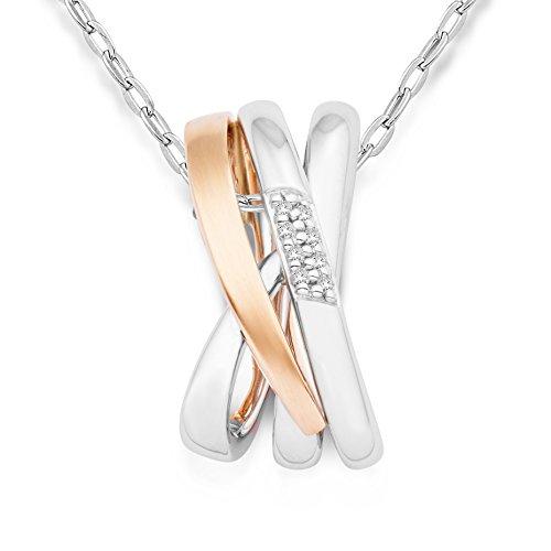 Miore Kette Damen 0.03 Ct Diamant Halskette mit modernem Anhänger Bicolor Kette aus Gelbgold und Weißgold 14 Karat / 585 Gold, Halsschmuck mit Diamanten Brillanten 45 cm lang