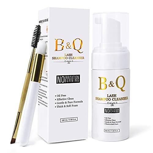 Wimpernshampoo 100 ML Wimpernschaum Für Wimpernverlängerung Lash Shampoo Cleanser Wimpern Shampoo Ölfrei By B&Q LASH(100 ML)