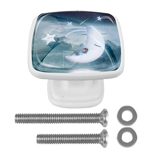 Perilla de gabinete Perillas de puerta cuadradas Tirador en forma de hongo con tornillos para gabinete Armario Cajón Armario 4 piezas Blanco Pesca juvenil luna 3x2.1x2 cm