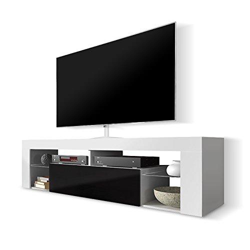 Selsey Hugo - Meuble TV/Banc TV 140 cm (Blanc/Noir)