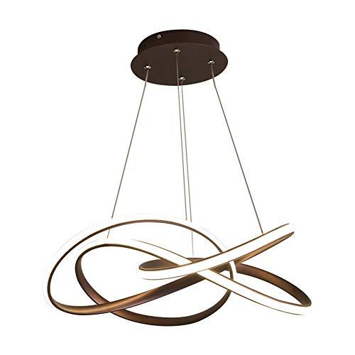 Lampe à suspension à LED Lampe de table à manger moderne Courbe Lustre Hauteur réglable Salle à manger Salle d'étude Cuisine Café Bar Suspension Luminaire intérieur Lampe Ø 62CM 74W, lumière blanche