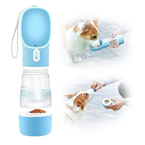 Eastlion Botella de Agua para Perros Portátil,2 en 1 Gatos Dispensador de Agua con Contenedor de Comida,a Prueba de Fugas,Mascotas Botella para Beber para al Aire Libre Viajar Caminar (Azul Claro)