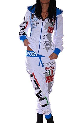 Damen Jogging-Anzug | Länder Flaggen | Trainings-Anzug aus 100% Baumwolle | Hoodie, Jogging-Hose | Rippstrickbündchen, Tunnelzug mit Zugband | Sport-Anzug | S-XXL (L, Weiß)