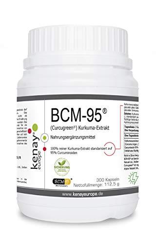 BCM-95® (Curcugreen®) Kurkuma-Extrakt - 750mg pro Tagesdosis - pflanzliche Kapsel - Vegan - Ohne Magnesiumstearat - 300 Kapseln KENAY EUROPE