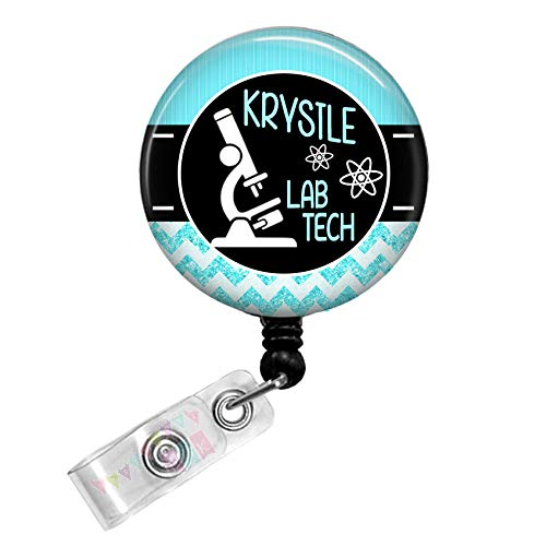 Personalized - Lab Tech with Microscope - Pool Blue - Glitter Chevron - Button Badge Reel - BR0033