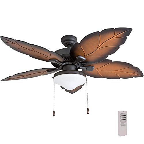 """Prominence Home 50772-01 Delray Tropical Ceiling Fan (3 Speed Remote), 52"""", Mocha, Tropical Bronze"""