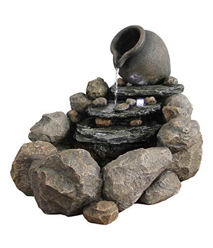 Dehner Gartenbrunnen Florero mit LED Beleuchtung, Steinoptik, ca. 58 x 69 x 54.5 cm cm, Polyresin, grau/braun